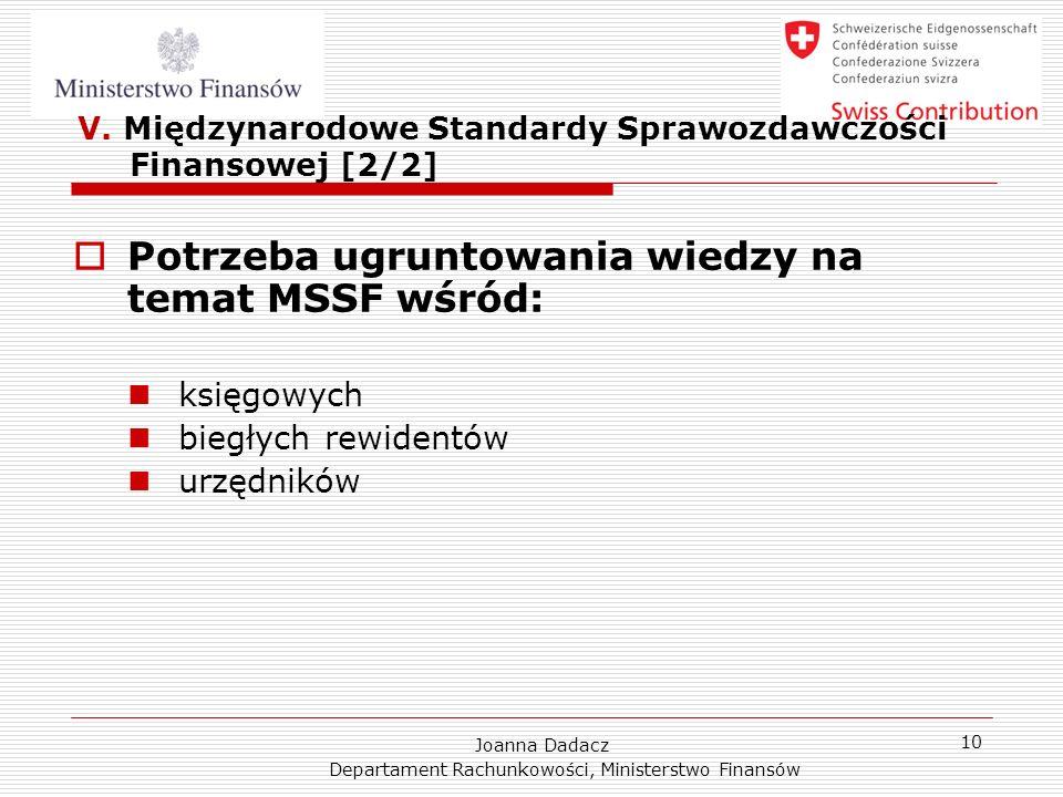 V. Międzynarodowe Standardy Sprawozdawczości Finansowej [2/2]